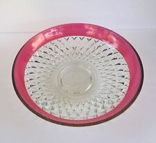"INDIANA GLASS CLEAR RUBY FLASH BAND DIAMOND POINT 13 1/2"" CONSOLE BOWL"