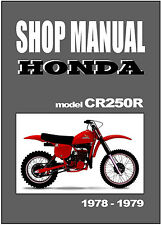 HONDA Workshop Manual CR250 CR250R 1978 & 1979 Maintenance Service Repair