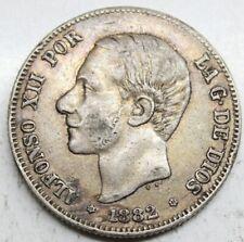 ESPAÑA ALFONSO XII 1882 *18-82 MSM 2 PESETAS MONEDA PLATA MBC+