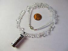 18 Karat White Gold Plated Garnet Tube Pendant on Water Droplet Quartz Necklace
