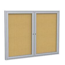 Ghent PA23648K 2-Door Aluminum Frame Enclosed Cork Bulletin Display Board 36x48