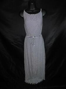 Cabi XS Navy Blue White Boat Stripe Maxi Dress 5105 Sleeveless Rayon Tulip Hem