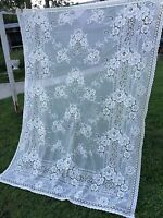 VINTAGE SINGLE OFF WHITE POLYESTER FLORAL NETTED LACE CURTAIN PANEL