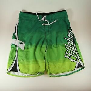 BILLABONG Spell Out OCCY Boardshorts Green Surf Swim Trunks Board Shorts 34