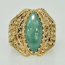 ORNATE Ladies 14k Yellow Gold Marquise Shape Jade Wide Band Estate Ring