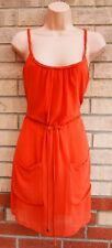 LOVE 21 ORANGE CORAL BELTED STRAPPY MESH LYCRA A LINE BAGGY SKATER DRESS M 12