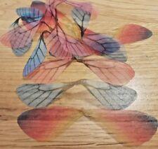 ORGANZA fabric dragonfly fairy wings pendants rainbow 12 pairs bear making D2