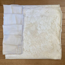 Vintage Ivory Lace Tablecloth Cotton XL 72x144 & Hand Embroidered Linen Napkins