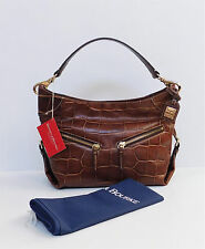 NWT Authentic Dooney & Bourke Croc Embossed Cognac Leather Med Cinzia Bag $365
