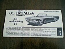 "AMT ""1965 Chev Impala Convertible"" Original kit Instruction sheet from 1965"