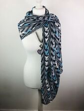 Ladies Scarf Shawl Black Grey Blue Chevron Pattern Metallic Large