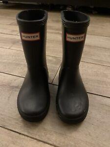 Hunter Original Toddler First Boots Black KFT5003RGL US size 9B/10G  Uk Size 8