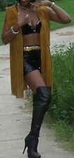 Fab A. MerCado brown Leather Long fringe Vest Top S 40