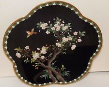 """Inaba Cloisonne Black Enamel Floral Blossom Bird 7""""1/2 Scalloped Plate Signed"""