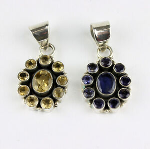 Citrine, Iolite Pendant Real Gems 925 Silver Yellow Blue Ladies Noble L 36 MM