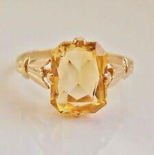 Stunning Vintage 9ct Gold Citrine Ring c1950's; UK Ring Size 'K 1/2'