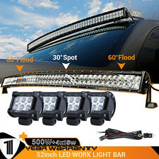"4x 18W CREE+ 500W 52"" Flood Spot Curved Led Work Light Bar with Wiring Harness"