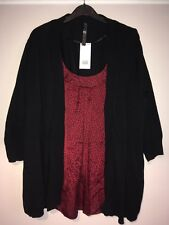 BNWT - Ladies 2 in 1 red spot top with cardigan from Evans UK size 22/24