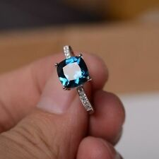 Charming Blue Sapphire Birthstone Wedding Engagement Band Ring Jewelry Size 6-10