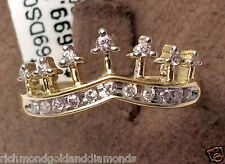 0.20c Diamonds Tiara Fashion Right Hand Quinceanera Ring Princess Yellow gold