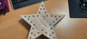 Home Essentials Small Lit Wooden White Washed Star
