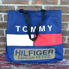 Tommy Hilfiger VTG 1990s Color Block Tote Bag Beach Travel Retro Cancun Mexico