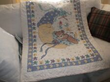 Quilted Baby Quilt, Moon, Baby Bear Asleep , Stars