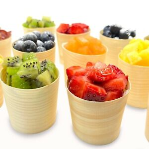 Disposable Serving Cups Pine Wood - Natural Bamboo Snacks Party Wedding BBQ