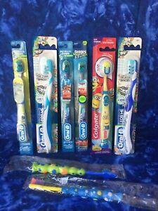 ORAL-B COLGATE PLAK SMACKERS Cars Monsters Minions Kids Manual Toothbrush Lot 8