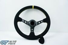 350mm  Steering Wheel SUEDE YELLOW Stitching 97mm DEEP Dish