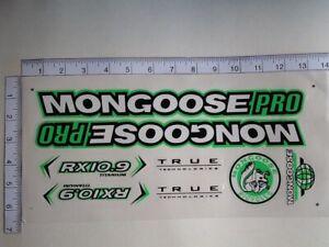 Mongoose PRO RX 10.9 Titanium Stickers  White, Black & Green. Die Cut.