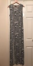 Ladies Topshop Jersey Maxi Dress UK Size 12 Black & White Print
