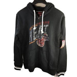 Miami Heat Mitchell Ness Hoodie Sweatshirt Full Zip Distressed HW Classics 2XL