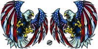 """Screaming American Bald Eagle Wings Decal pairs X Large 24"""" Decal Free Shipping"""