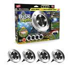 Bell + Howell Solar Powered 4 LED Outdoor Disk Lights - Brushed Steel 4 Pack