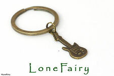 Bronze Guitar Metal Keyring Musician Steampunk Music Key Chain singer