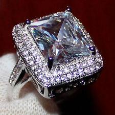 Size 7 Handmade Womens 925 Silver Huge White Topaz CZ Pave Set Wedding Band Ring