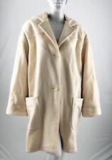 RARE Vintage BILL BLASS Signature Cream Ivory Blanket Hooded Wool Coat Mod