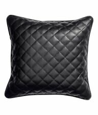 Authentic Lambskin Leather Quilted Cushion Pillow Cover Sofa Decorative Black
