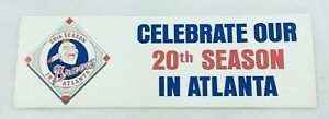 1986 Atlanta Braves Celebrate our 20th Season Baseball Sticker-White Background