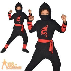 Kids Ninja Warrior Costume Samurai Martial Art Halloween Child Fancy Dress Outfi