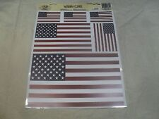 Set of 6 ~ America Flag Clings Decals ~ Outside of Window