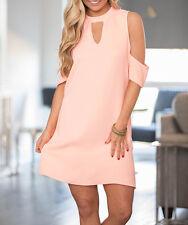 Womens Cold Off Shoulder Blouse T Shirt Top 3/4 Sleeve Short Mini Dress Clubwear