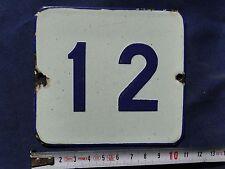 VINTAGE Enameled Porcelain Tin Sign House-Door Number 12-4.33 inch/3.9 inch  BC