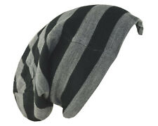 "D&Y Men's Long Beanie Reversible Stripe Knit Hat 12"" Gray Black"