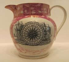 Sunderland rose Lustre carafe Boussole Bridge River Wear Poterie Antique c 1840