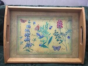 Serving Tray Wood Glass Inlay Insert 2 Handles Handcrafted Flowers Vintage 18x13