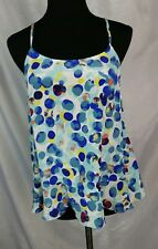 Anthropologie Maeve Large Dots Bubble Blue Green Ruffle Silk Tank Cami Top Sz 2