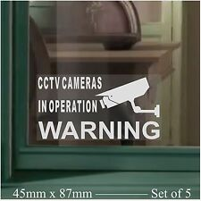 5 x SMALL CCTV Video Camera Security Warning-Crime Window Stickers-Mini Signs