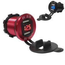 Red 12V Dual USB 4.2A Car Boat Cigar Lighter Charger Socket Digital Voltmeter 1x